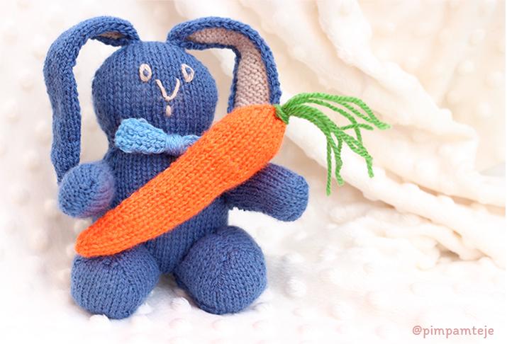Patrón para tejer un conejo a dos agujas | Pim, pam, teje