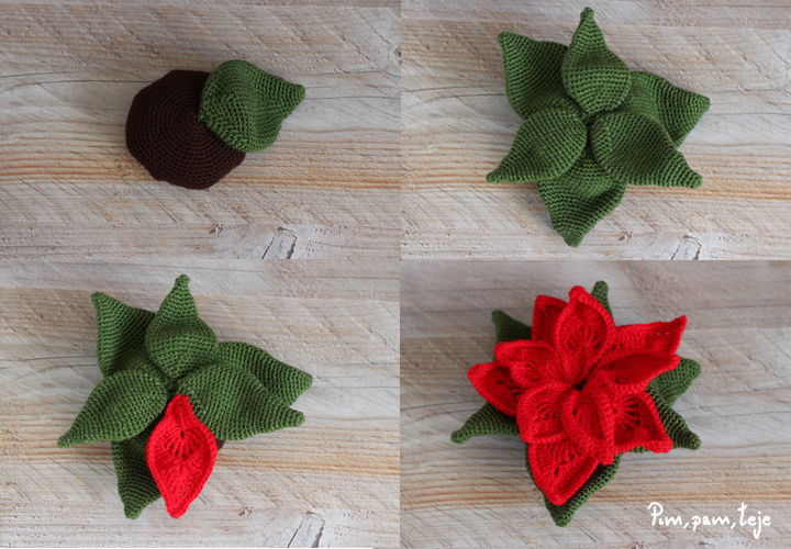 Cómo tejer una flor de pascua de ganchillo