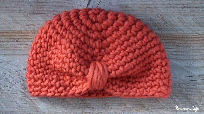 Patrón para tejer un gorro tipo hindú o turbante