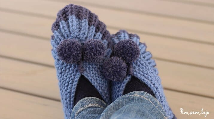 Cómo tejer pantuflas punto inglés