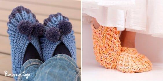 Pantuflas tejidas en punto a dos agujas