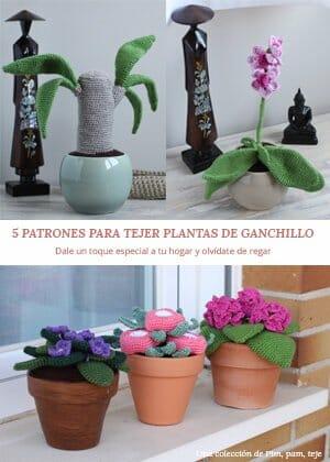 iBook 5 patrones para tejer plantas de ganchillo. Una colección de Pim, pam, teje
