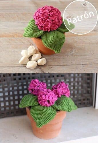 Patrón hortensia ganchillo
