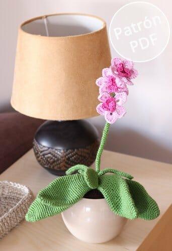 Patrón para tejer una orquídea de ganchillo