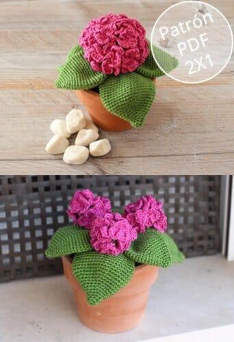 Patrón para tejer una hortensia de ganchillo tipo amigurumi