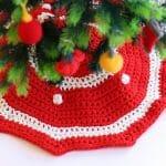 Como tejer un cubre pie de trapillo para tu árbol de Navidad