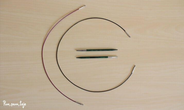 Agujas circulares intercambiables de madera