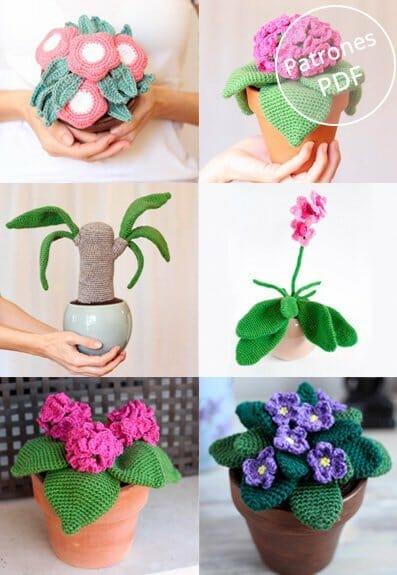 5 patrones para tejer plantas de ganchillo.