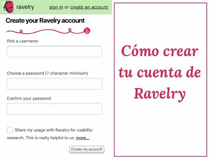 Cómo crear tu cuenta Ravelry