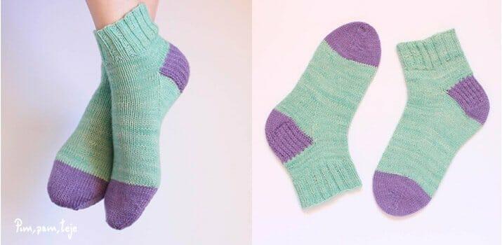 Calcetines Pimpam. Patrón básico de calcetines tejidos a dos agujas para principiantes